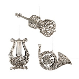 Antiqued Instrument Ornament, Set of 3
