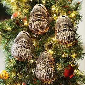 Antiqued Silver Santa Ornament, Set of 4