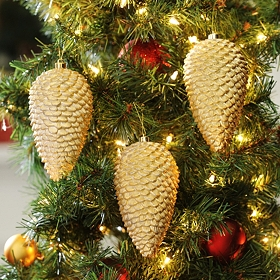 Glitter Pine Cone Ornament, Set of 3