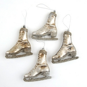 Antiqued Silver Skate Ornament, Set of 4