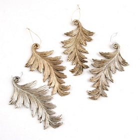 Silver Acanthus Leaf Ornament, Set of 4