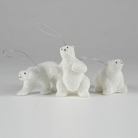 Polar Bear Ornament, Set of 3