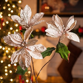 Taupe Velvet Poinsettia Stems, Set of 3