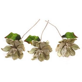 Sage Velvet Poinsettia Stem, Set of 3