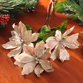 Platinum Velvet Poinsettia Stem, Set of 3
