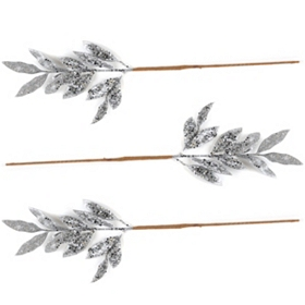 Silver Glitter Leaf Pick, Set of 3