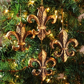 Antiqued Gold Fleur-de-lis Ornament, Set of 4