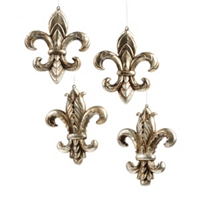 Antiqued Silver Fleur-de-lis Ornament, Set of 4