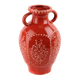 Red Ceramic Embossed Jug
