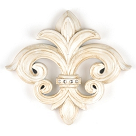 Cream Fleur-de-Lis Bling Wall Plaque