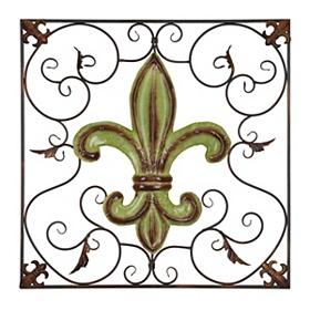 Green Scrollwork Fleur-de-lis Plaque