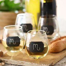 Stemless Chalkboard Label Wine Glasses, Set of 4