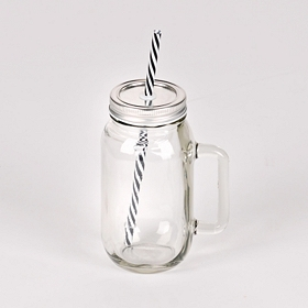 Clear Mason Jar Glass with Straw