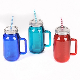 Colorful Mason Jar Glass with Straw