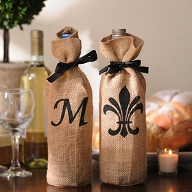 Burlap Monogram Wine Bottle Cover