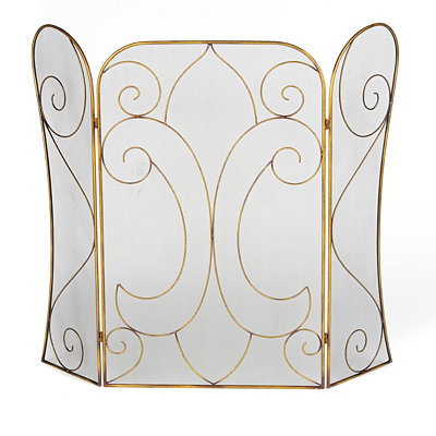 Gold Fleur-de-lis Fireplace Screen