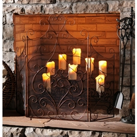 Bronze Scroll Fireplace Screen