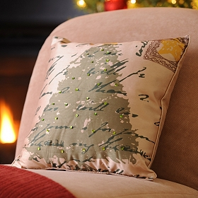 Christmas Tree & Postcards Accent Pillow