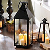 Black Crown Metal Lantern, 27.5 in.