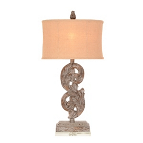 Antiqued Blue Pisces Table Lamp