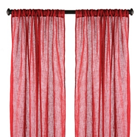 Red Textured Woven Curtain Panel, Set of 2