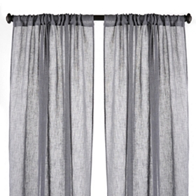 Charcoal Textured Woven Curtain Panel, Set of 2