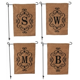 Burlap Monogram Garden Flag, Assortment 2
