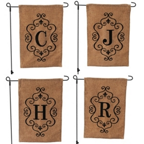 Burlap Monogram Garden Flag, Assortment 3