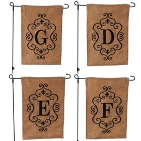 Burlap Monogram Garden Flags