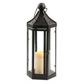Black Hex Metal Lantern, 17 in.