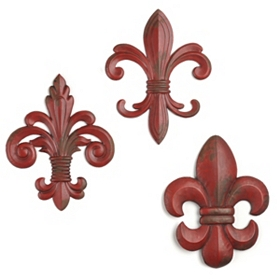 Red Metal Fleur-de-lis Wall Plaques, Set of 3