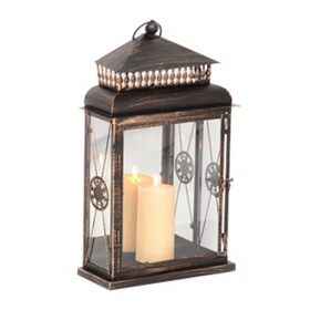 Bronze Hanging Wall Lantern, 23 in.