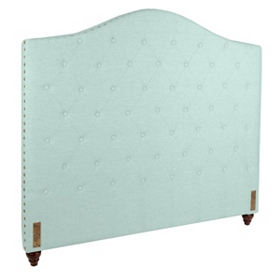 Seafoam Linen Tufted Queen Headboard