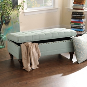 Powder Blue Tufted Storage Bench