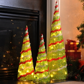 Pre-Lit Sisal Christmas Tree, Set of 3