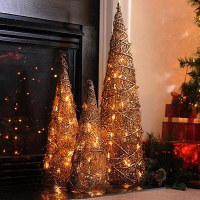 Pre-Lit Bronze Christmas Tree, Set of 3