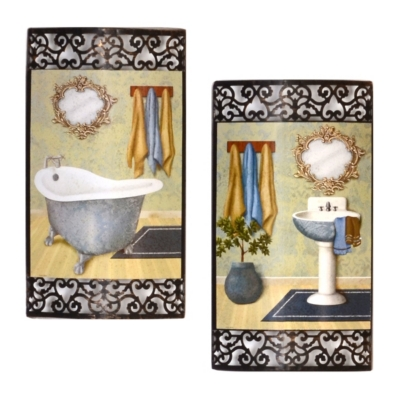 Bath Time Metal Wall Art, Set of 2