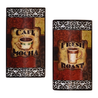 Coffee Break Metal Wall Art, Set of 2