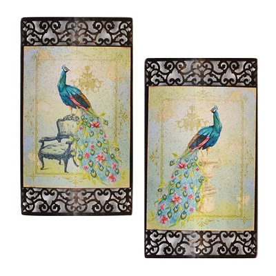 Pretty Peacock Metal Wall Art, Set of 2