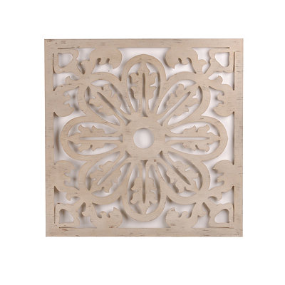 Cream Carved Wood Medallion Wall Plaque
