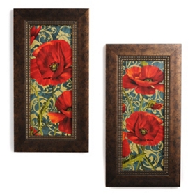 Poppies on Teal Framed Art Prints