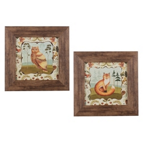 Fox and Owl Art Framed Art Prints