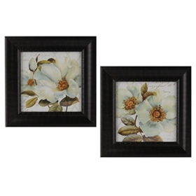 White Floral Bliss Framed Art Prints