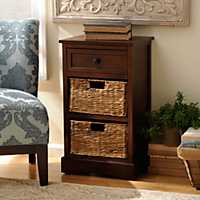 Brown 3-Drawer Storage Chest with Baskets
