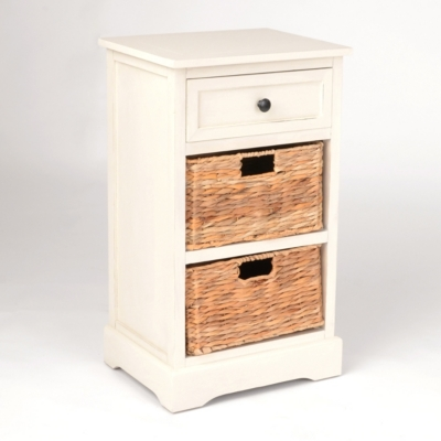 Ivory 3-Drawer Storage Chest with Baskets