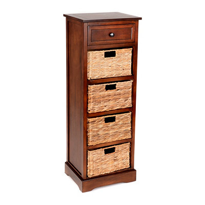 Brown 5-Drawer Storage Chest with Baskets