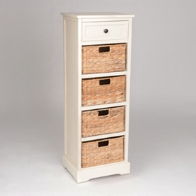Ivory 5-Drawer Storage Chest with Baskets