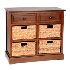 Brown 6-Drawer Storage Chest with Baskets