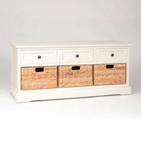 Ivory 6-Drawer Storage Bench with Baskets