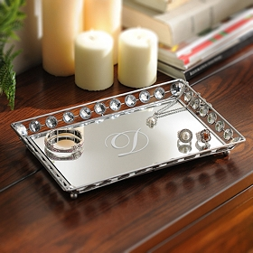 Monogram Mirrored Bling Tray